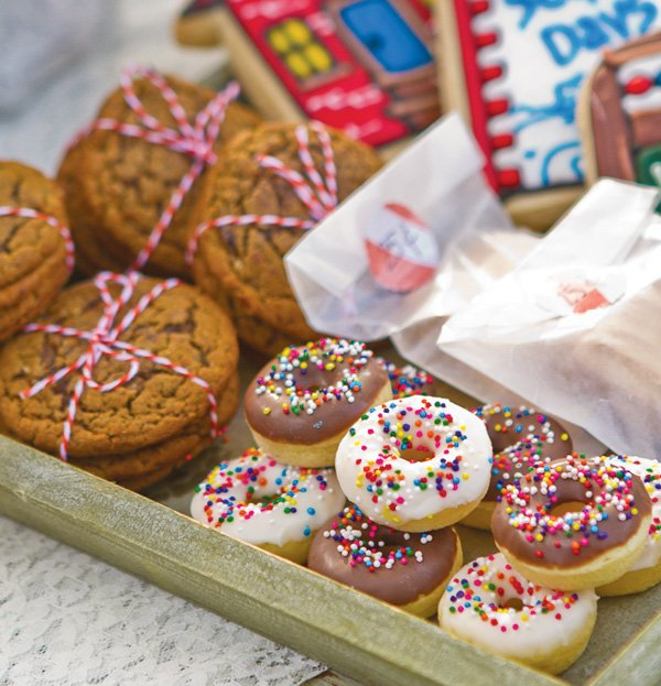 bake sale with mini sprinkle donuts