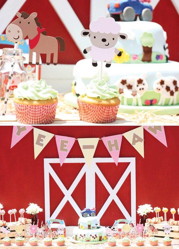 barn animal cupcakes