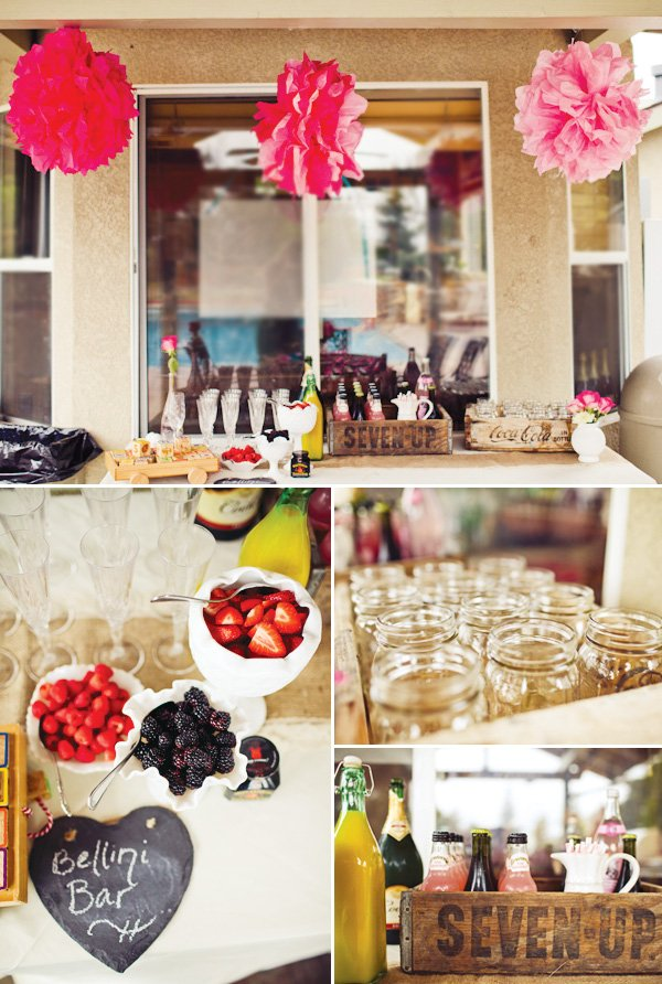 bellini bar and other pink baby shower ideas