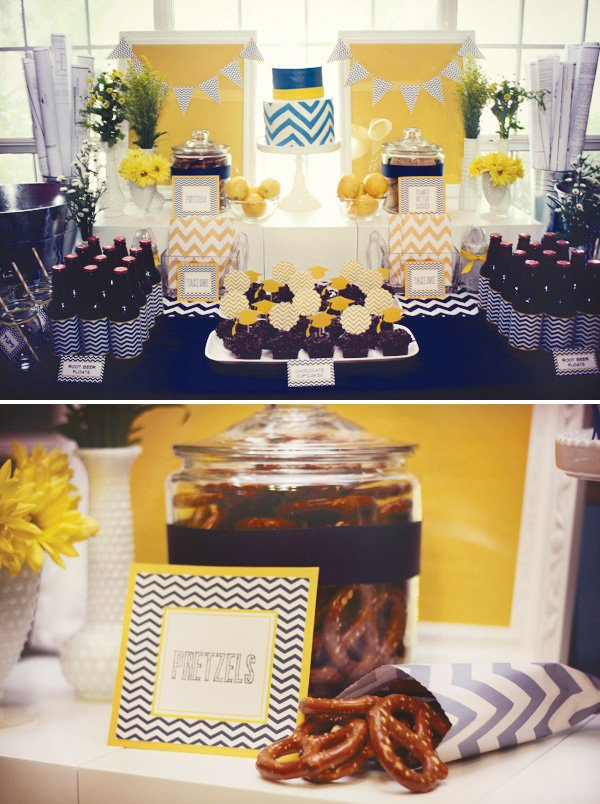 navy and yellow chevron dessert table