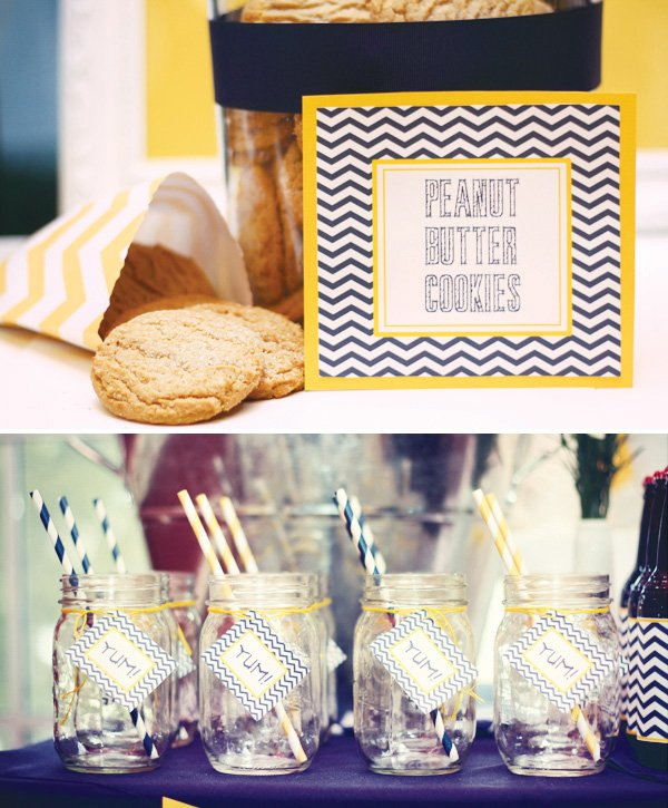 blue and yellow chevron printables
