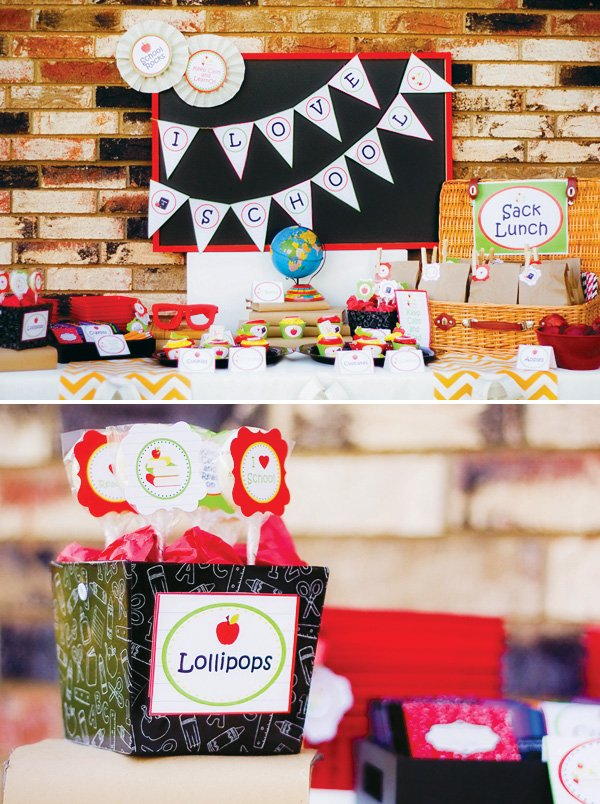 Dessert table with lollipop printables
