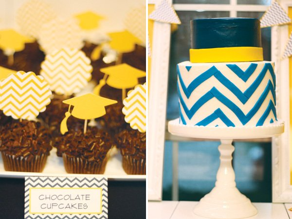 chevron cake and graduation cap cupcake toppers