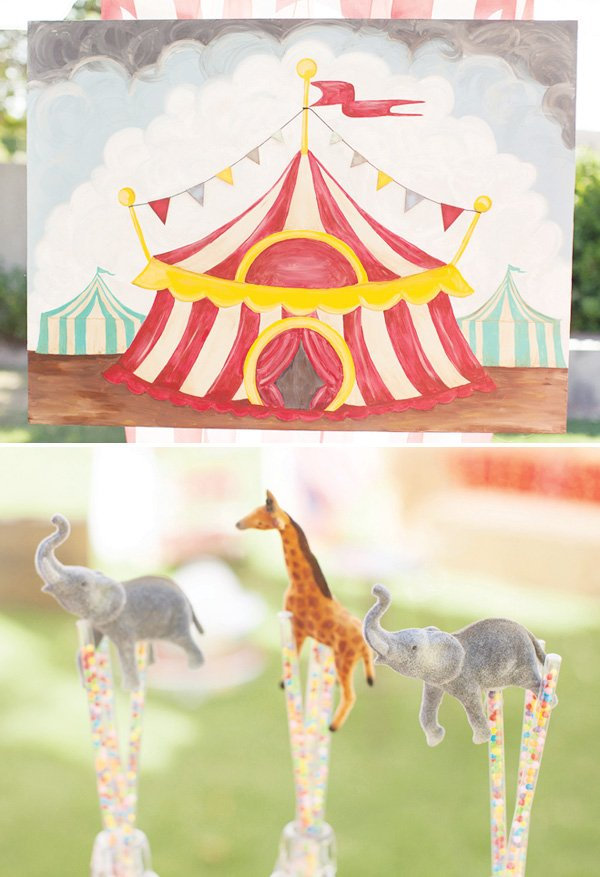 circus tent painting and candy