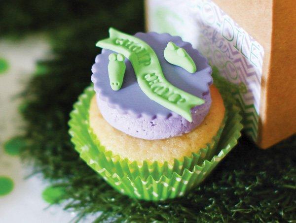 crocodile cupcake topper