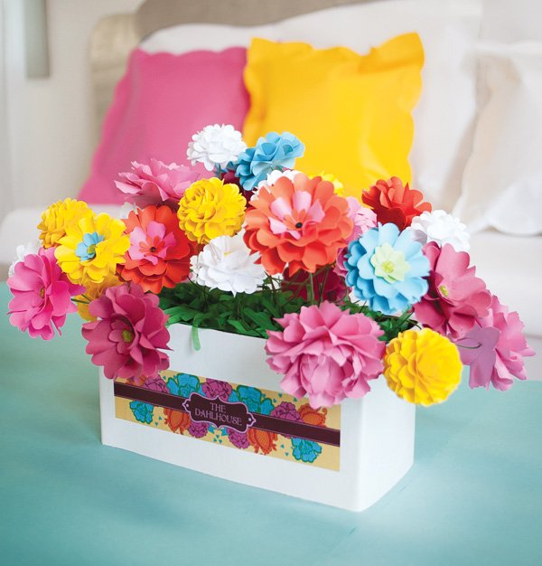 dollhouse paper flowers centerpiece