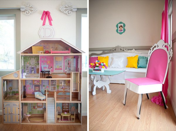 dollhouse party decor and doll house