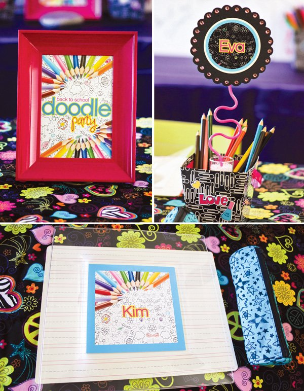 doodle party theme with a silly straw centerpiece