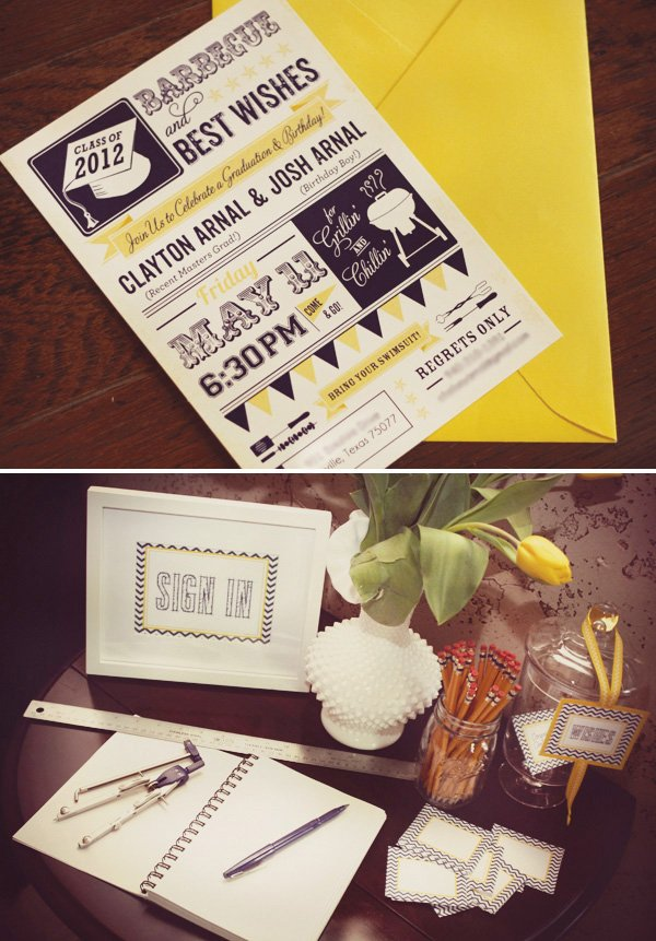 chic navy yellow chevron graduation party hostess with the mostess