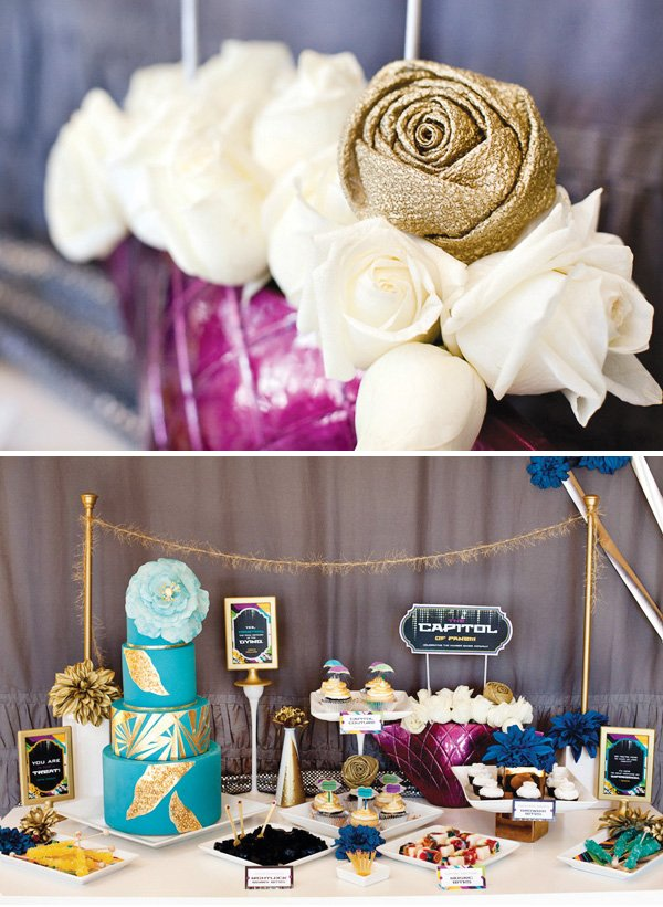 hunger games capitol couture dessert table
