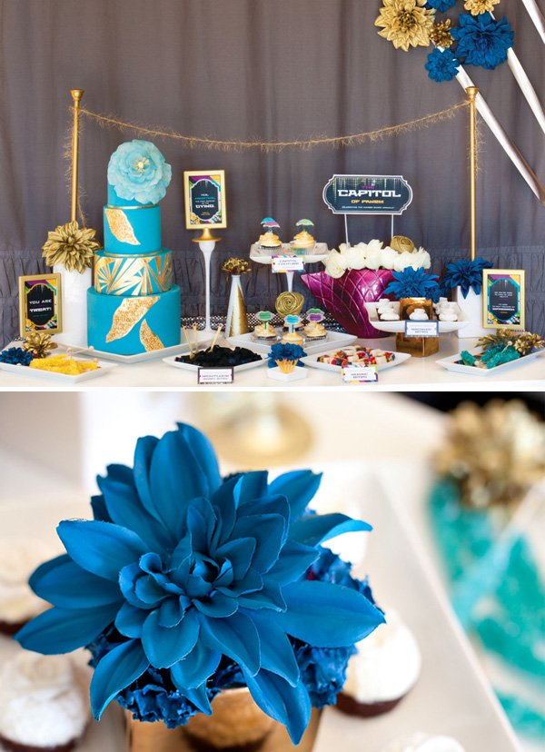 hunger games capitol couture dessert table and wedding cake