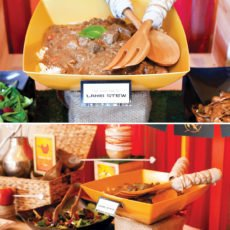 hunger games buffet table with lamb stew