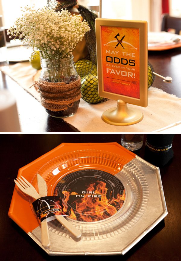 hunger games centerpiece and place settings