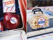 Airplane party snack food with sticker printables