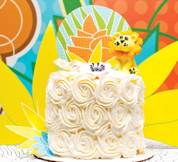 jungle lion flower cake