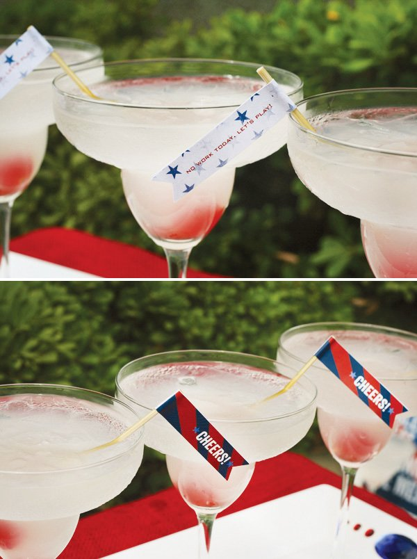 labor day drinks - patriotic drink stirrers