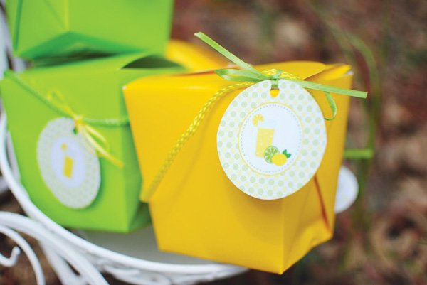 lemon lime party favors in bright takeout boxes