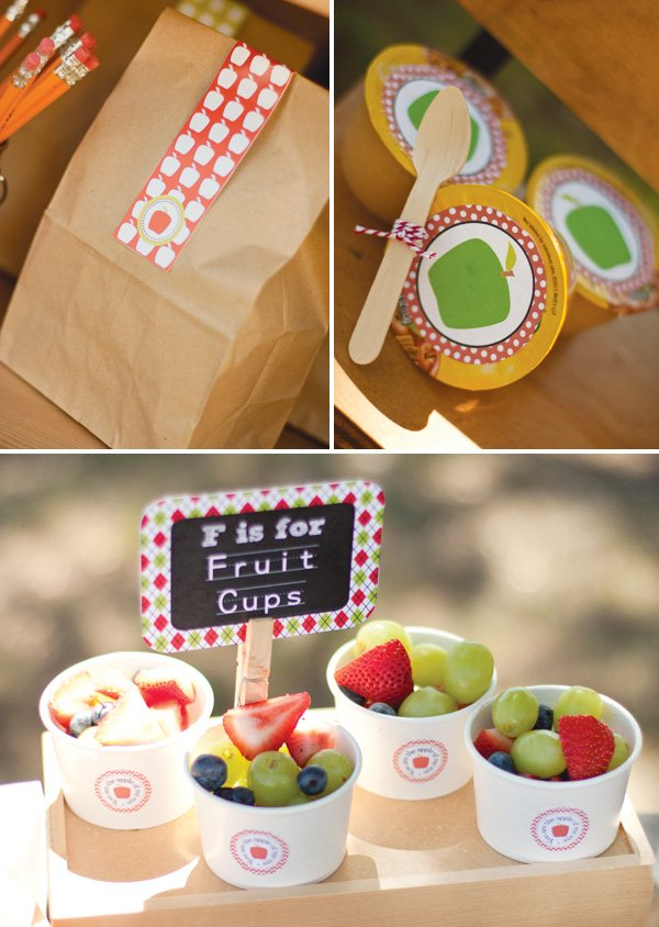 brown lunch bag with healthy snacks