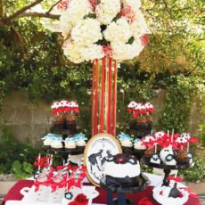 """Mary Poppins """"Jolly Holiday"""" inspired dessert table with hydrangea centerpiece"""