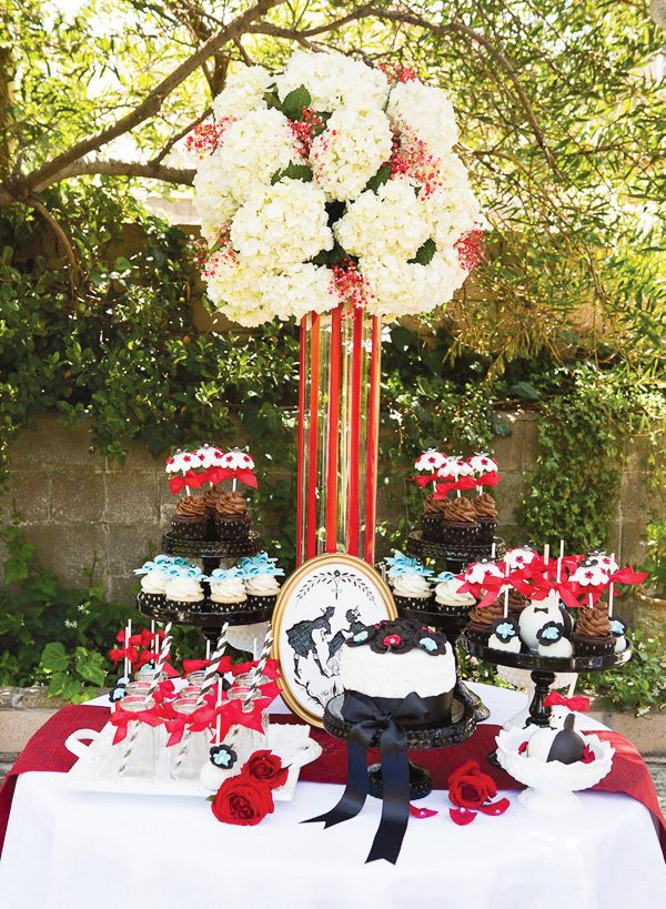 "Mary Poppins ""Jolly Holiday"" inspired dessert table with hydrangea centerpiece"