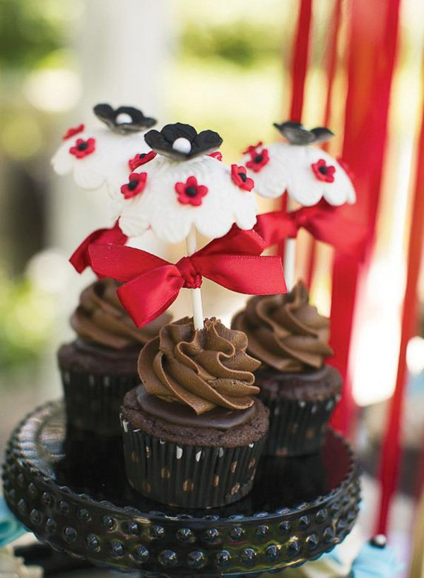 Chocolate cupcakes with parasol cupcake toppers