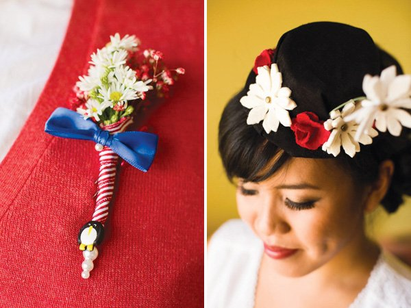 Mary Poppins themed outfit with red and white penguin boutonniere