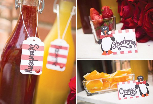 Red and white striped party printables and drink tags