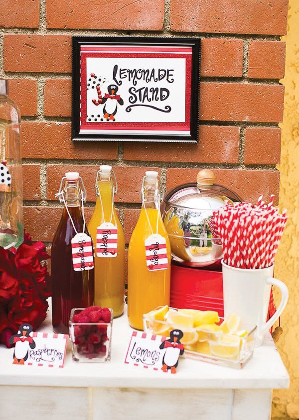 Red, black, and white lemonade stand with penguin printables