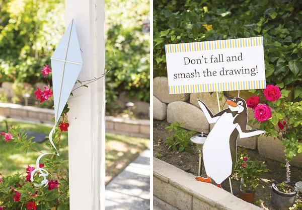 Mary Poppins penguin sign printables and kite decorations