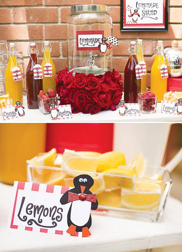 Mary Poppins dessert table with penguin printables
