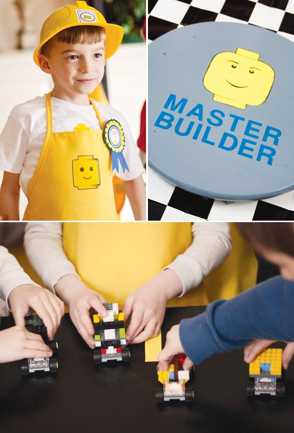 master builder lego birthday party with yellow aprons and construction hats