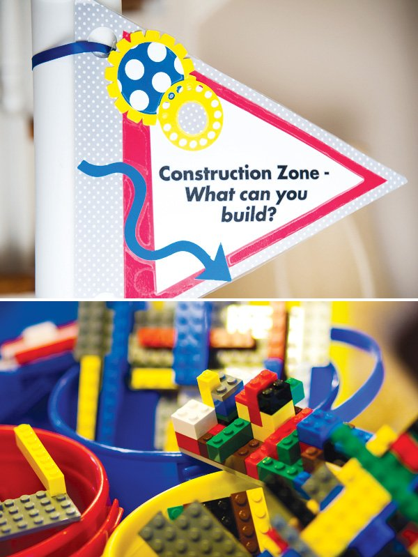 master builder lego birthday party with a construction zone area