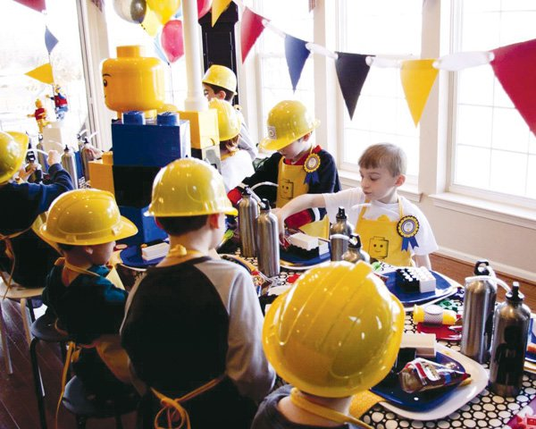master builder lego birthday party kids table