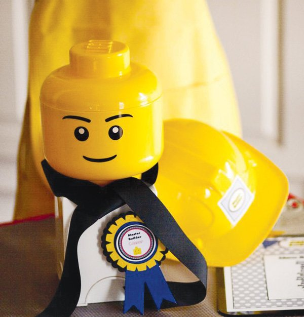 master builder lego birthday party lego head decoration