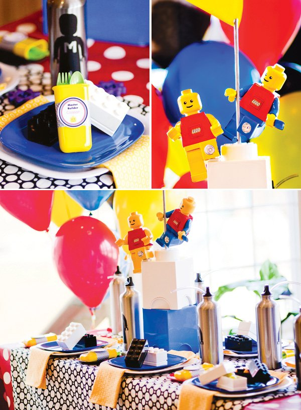 master builder lego birthday party table setting