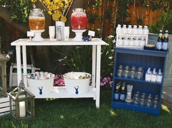 modern nature inspired party drink station