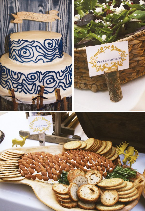 modern nature inspired party with pine cone almonds