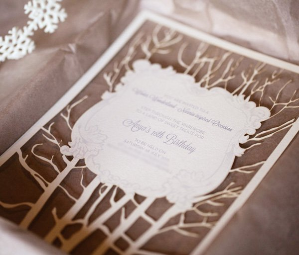 narnia die cut tree invitation