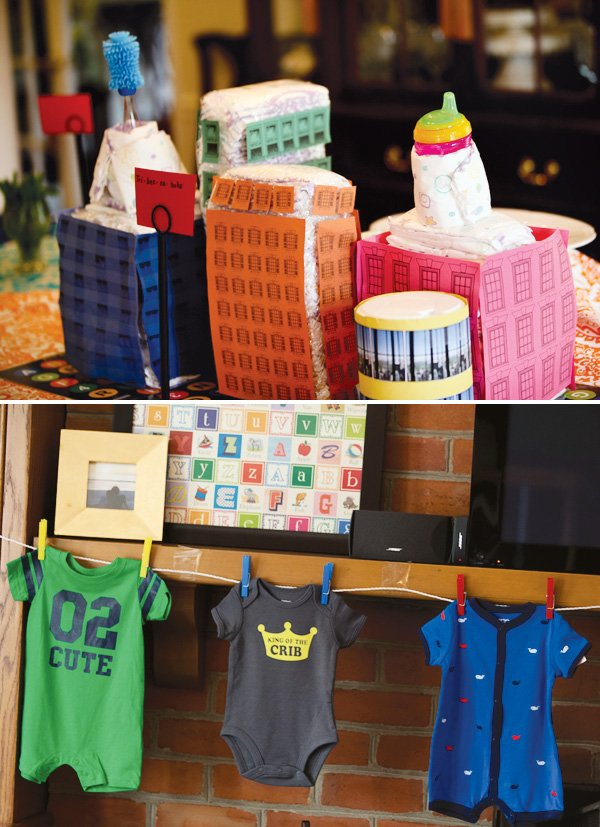 nyc + abc baby shower diaper cake