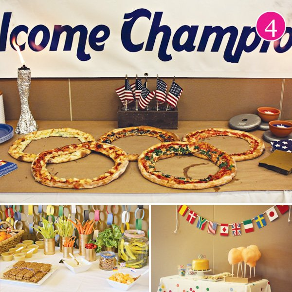 olympics party with pizza rings