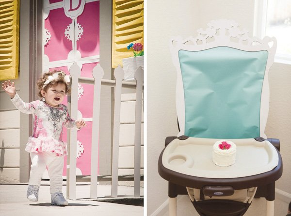 paper decorated highchair for a dollhouse theme party