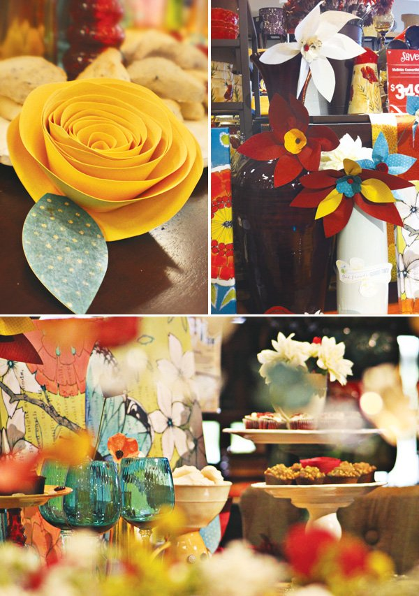 paper roses and giant paper flowers for added decor