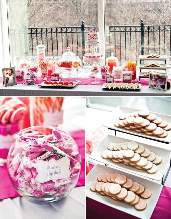 pink and orange dessert table