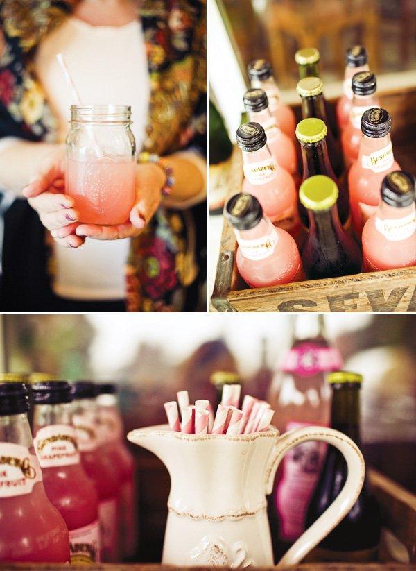 pink baby shower drinks