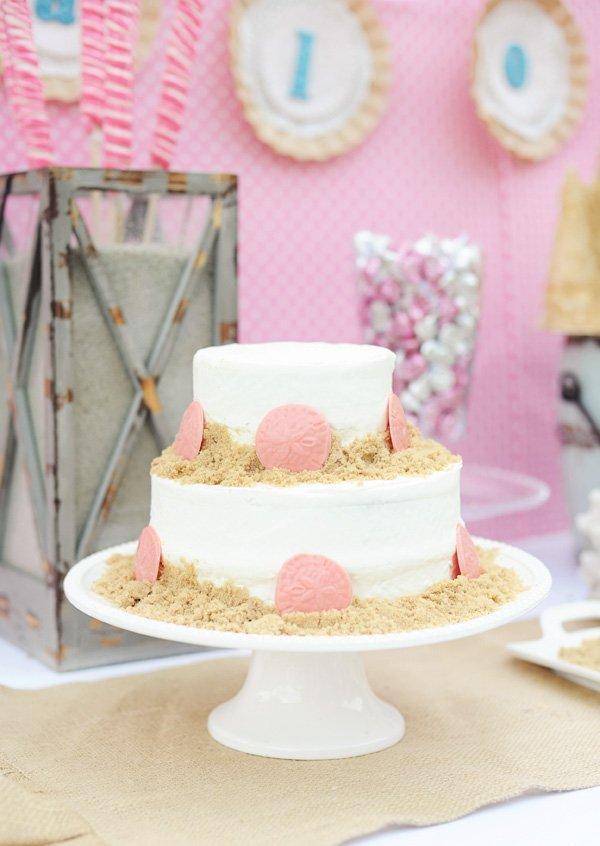 pink beachy cake