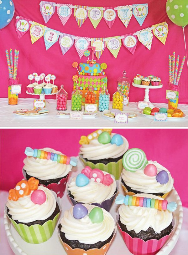 pink candy shoppe dessert table