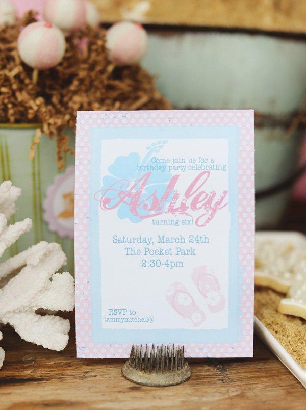 vintage beachy pink luau invitation