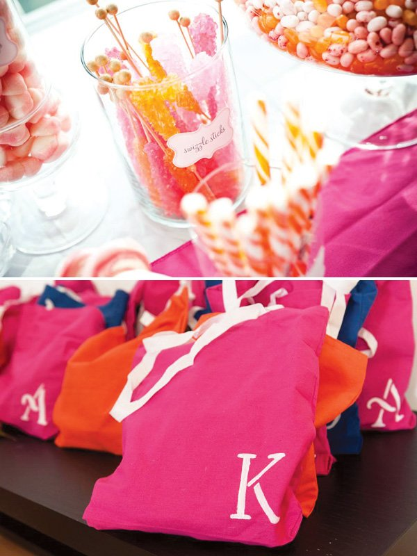 pink and orange party favors
