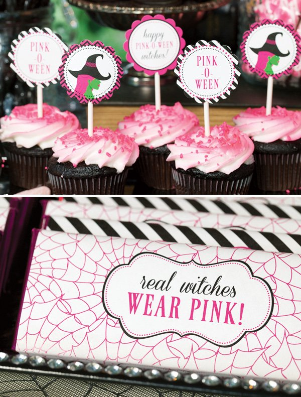 pink witch cupcake toppers