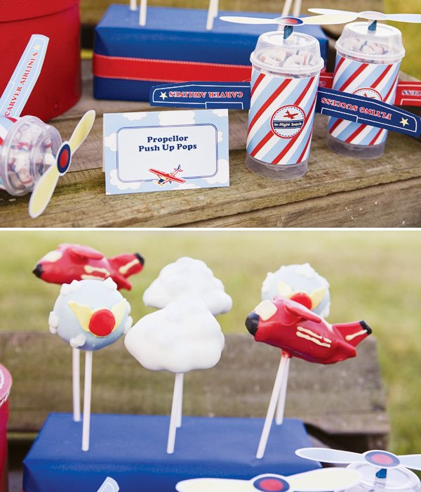 Propeller push pops and airplane cake pops